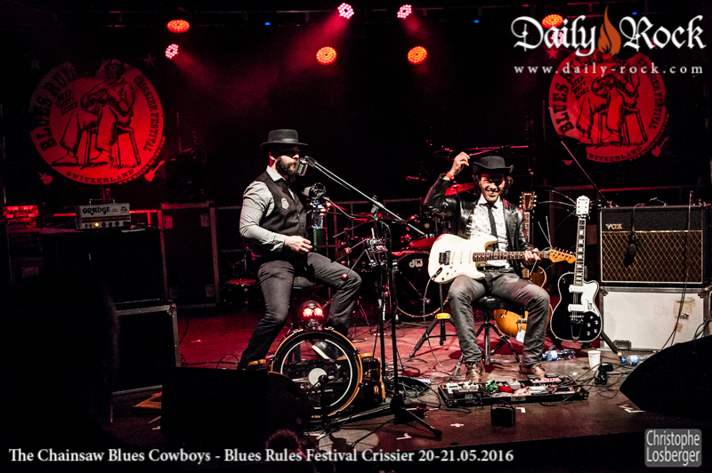 """James Chainsaw"" Lionel Ippolito (vocals), ""Erich Chainsaw Zann"" Farid Kedim (guitar). The Chainsaw Blues Cowboys @ Blues Rules Crissier Festival, Crissier (VD), Switzerland, 20.05.2016. (c) Christophe Losberger"